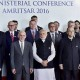Amritsar: Prime Minister Narendra Modi, along with Afghanistan's President Ashraf Ghani, Finance Minister Arun Jaitley, MoS for External Affairs V K Singh and other delegates, poses for a group photo before the inauguration of the 6th Heart of Asia Ministerial Conference, in Amritsar on Sunday. PTI Photo by Kamal Kishore(PTI12_4_2016_000023B)